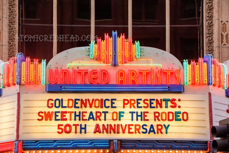 "The neon marquee reading ""Goldenvoice Presents: Sweetheart of the Rodeo 50th Anniversary"""