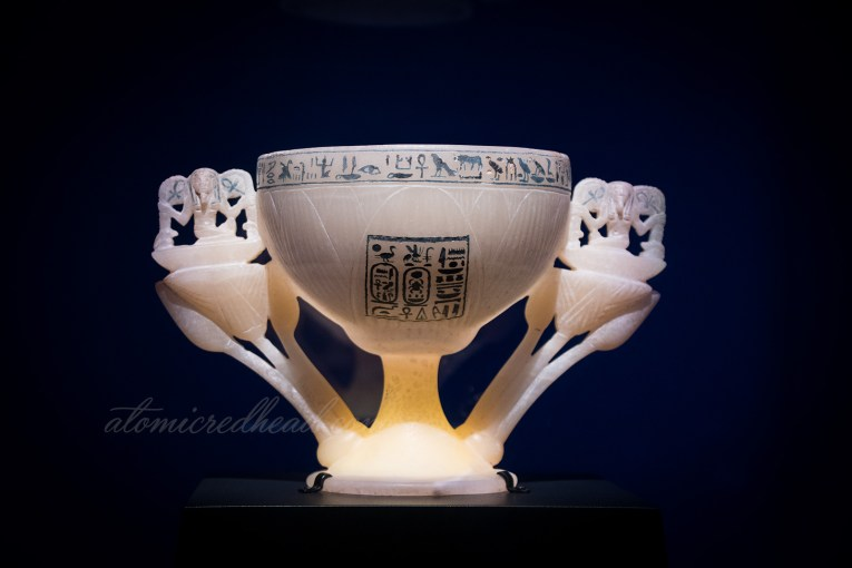The Wishing Cup, featuring hieroglyphics and lotus flowers.