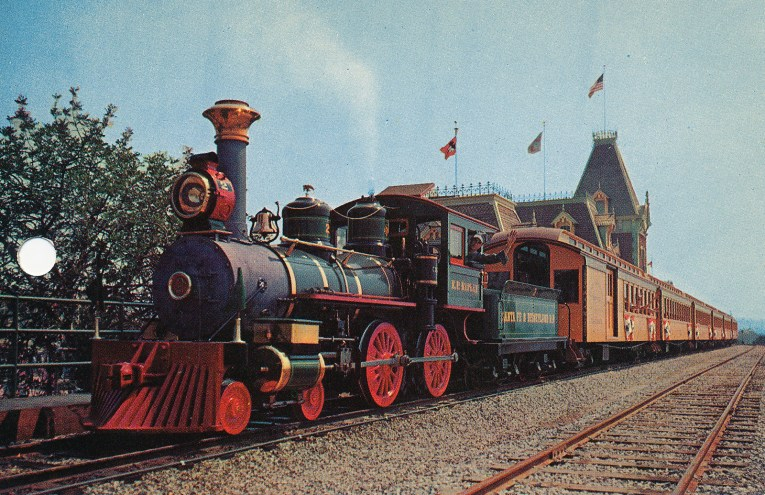 One of the Disneyland trains as it departs the Main Street station.