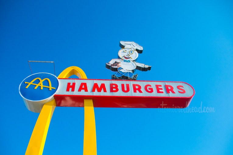 """Close up of the """"Hamburgers"""" portion and Speedee."""