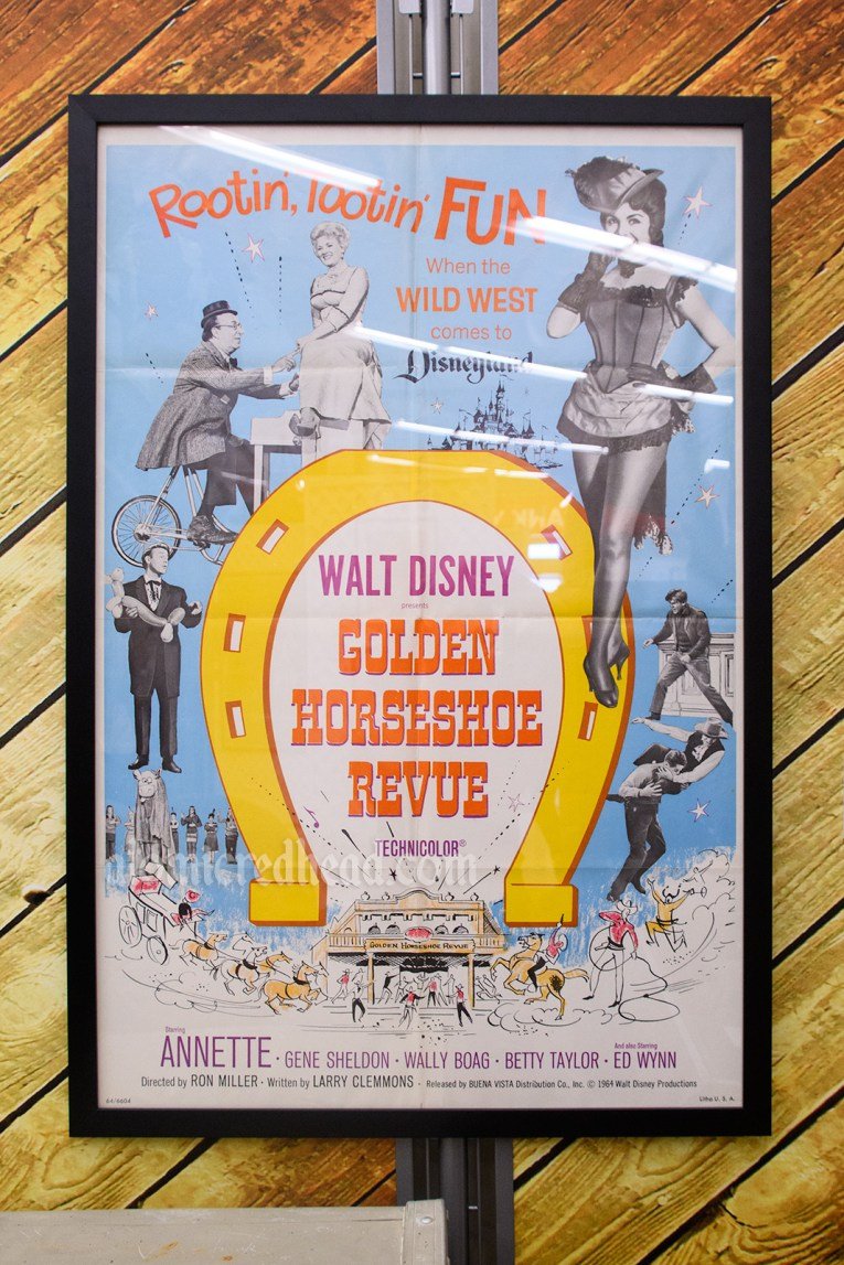 Poster for the Golden Horseshoe Revue, a filmed version of the show at the Golden Horseshoe in Disneyland, features photos of the various western inspired acts.