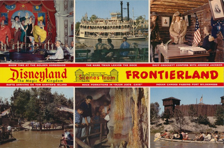 "A multi-scene postcard. Across the middle reads ""Disneyland The Magic Kingdom Scenes from Frontierland"" Along the top an image of the Golden Horseshoe stage with dancers, in the middle the Mark Twain, on the right inside Fort Wilderness where figures dressed like Davy Crockett and Andrew Jackson reside. Along the bottom, on the left, rafts cross over to Tom Sawyer's Island, in the middle, guests explore rock formations in ""Injun Joe's Cave"" and on the right, canoes pass by Fort Wilderness."