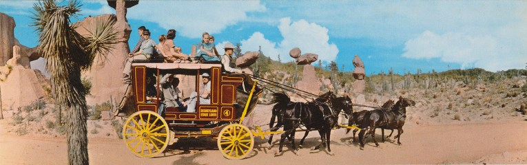 Guests ride aboard an old west stagecoach.