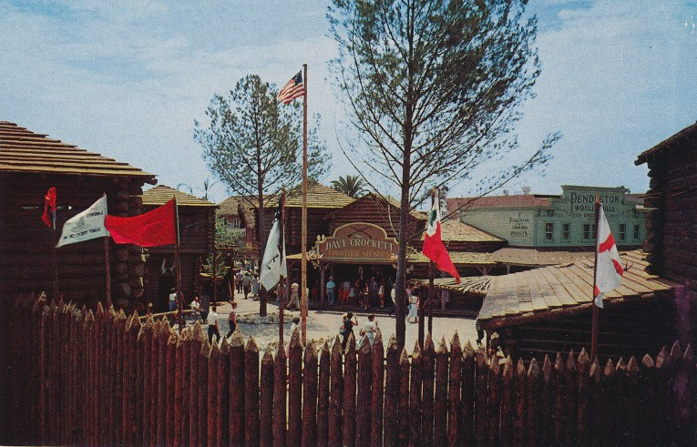 Just past the gates of Frontierland, the Davy Crockett Arcade, and the Pendleton Woolen Mills store.