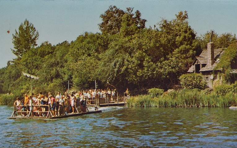 Rafts shuttle guests between the Rivers of America and Tom Sawyer's Island.
