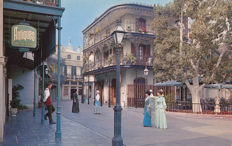 New Orleans Square, with fanciful wrought iron.