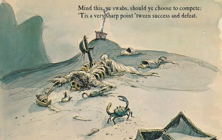 "Concept art for Pirates of the Caribbean - a skeleton lays on the sand, stabbed in the back, a crab looks on. Text reads ""Mind this ye swabs, should ye choose to compete: 'Tis a very sharp point 'tween success and defeat."""