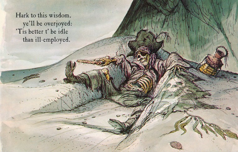 "Concept art for Pirates of the Caribbean - a skeleton lays in a ditch, in tattered pirate attire and a pistol in his hand. Text reads ""Hark to this wisdom, ye'll be overjoyed: 'Tis better t'be idle than ill-employed."