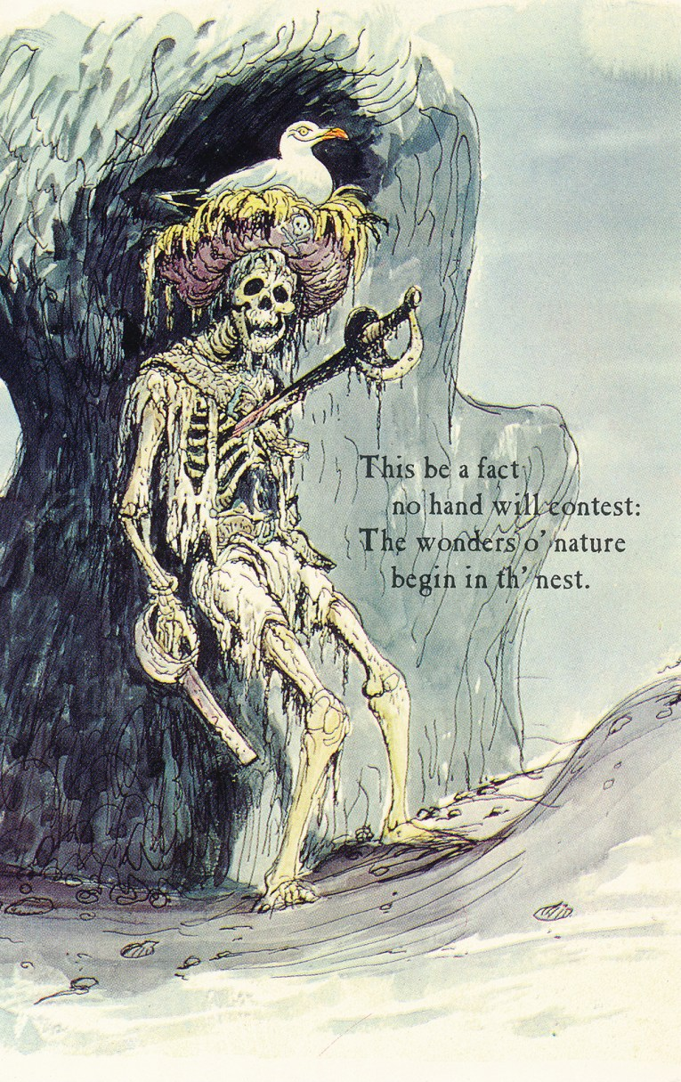 "Concept art for Pirates of the Caribbean - a skeleton has been stabbed through the chest and pinned to a wall. Text reads ""This be a fact no hand will contest: The wonders o'nature begin in th'nest"""