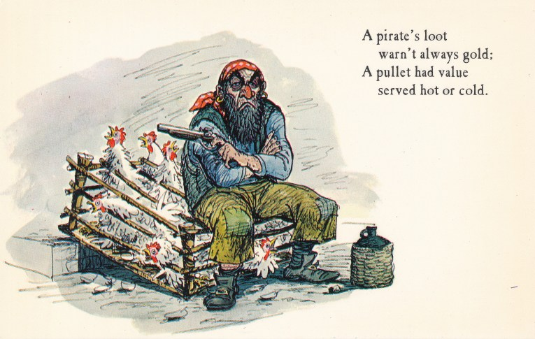 "Concept art for Pirates of the Caribbean - a disgruntled pirate sits on a crate of chickens. Text reads ""A pirate's loot warn't always gold. A pullet had value served hot or cold."""