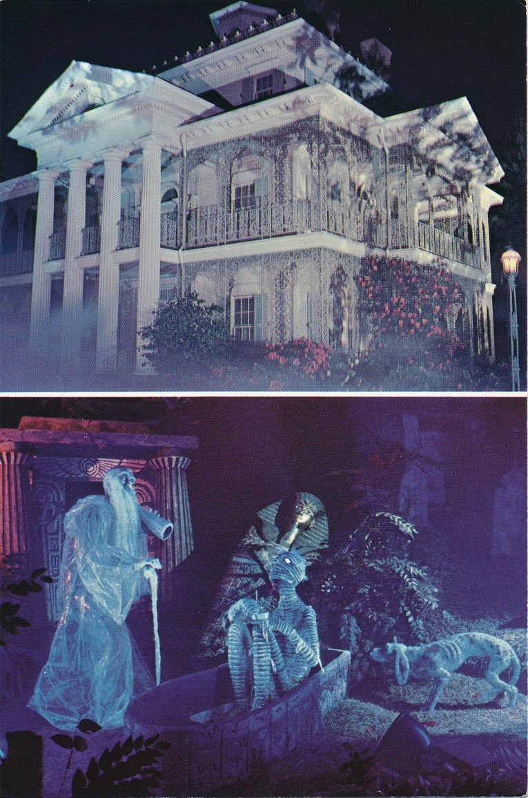 Two picture postcard. On top the exterior of the Haunted Mansion, below interior of ghosts, including an old man with a long beard and cane, and a mummy sitting upright in his sarcophagus.