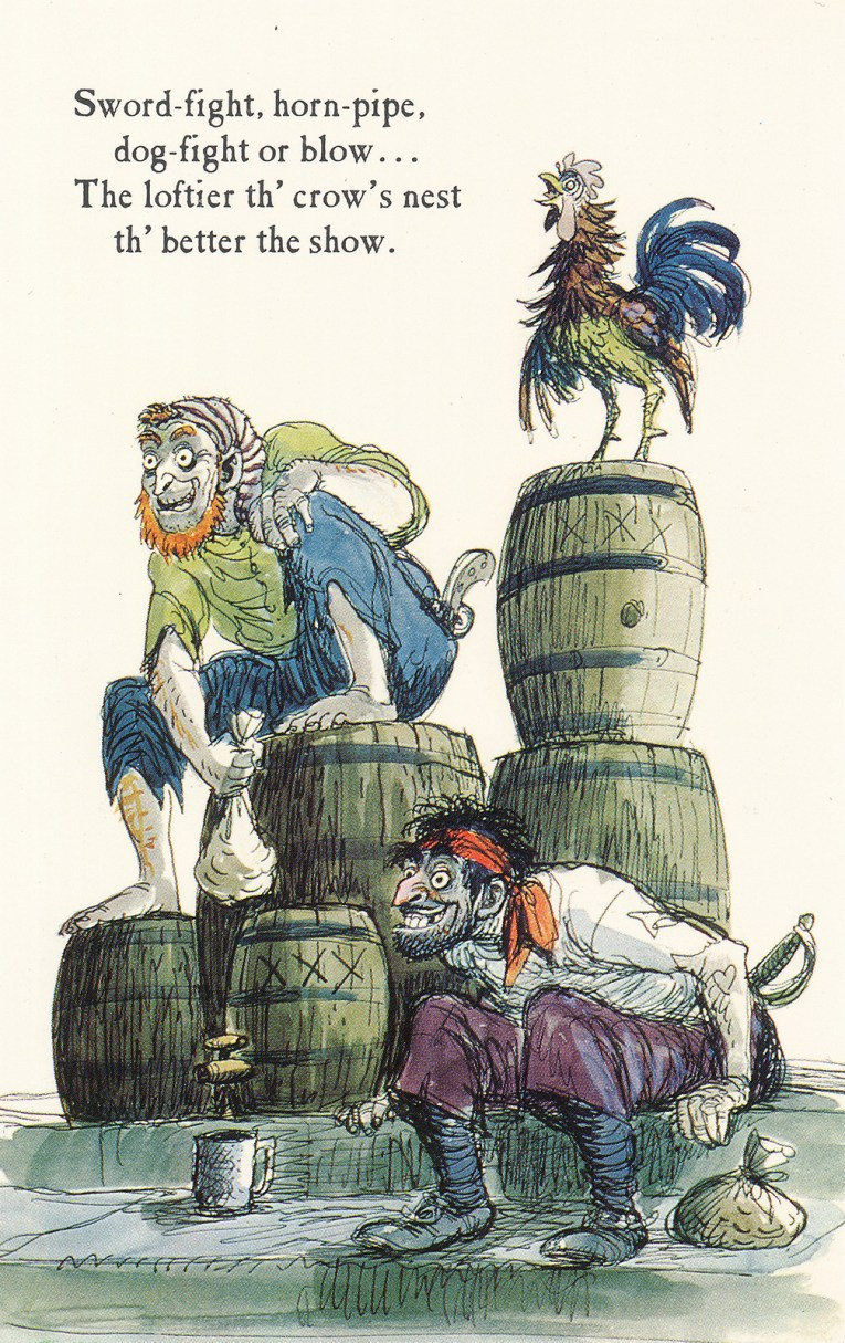 "Concept art for Pirates of the Caribbean - pirates sit on barrels, leering at something, while a rooster stands on a pile of barrels. Text reads ""Sword-fight, horn-pipe, dog-fight or blow... The loftier th'crow's nest th'better the show."""