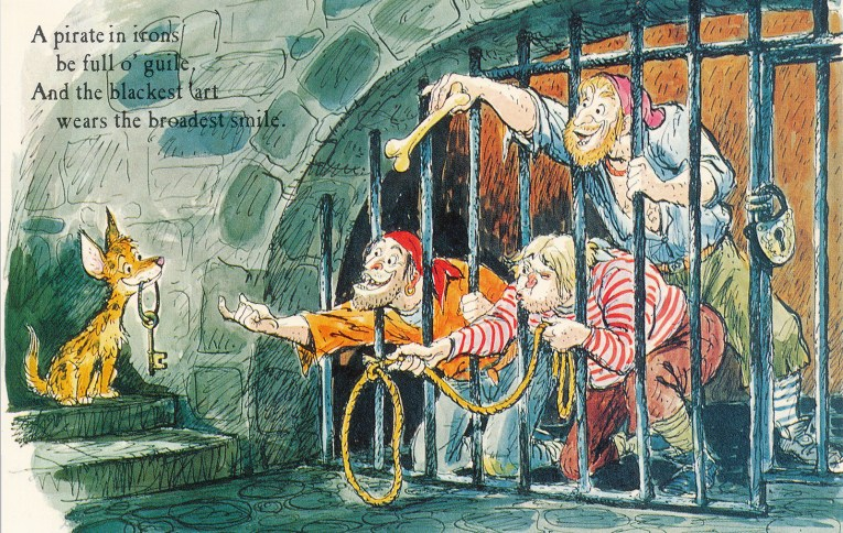"Concept art for Pirates of the Caribbean - Three pirates behind bars try to entice a dog with keys with a bone. Text reads ""A pirate in irons be full o'guile. And the blackest 'art wears the broadest smile."""