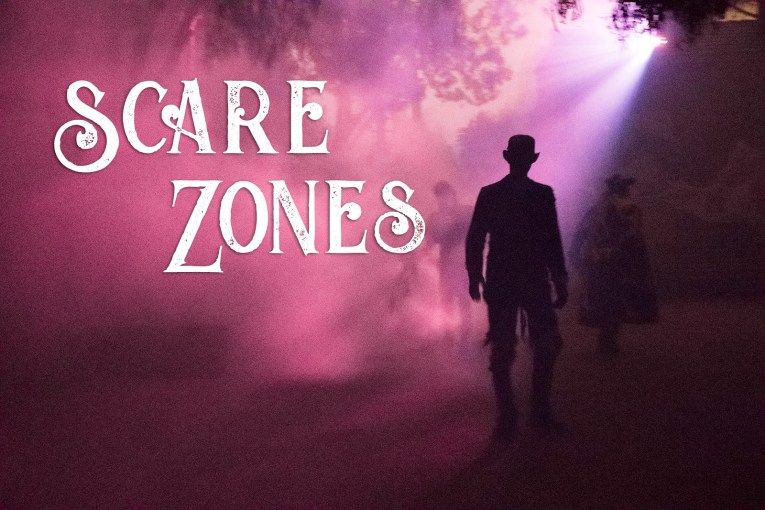 Scare Zones - a lanky figure in a bowler hat walks through purple fog.