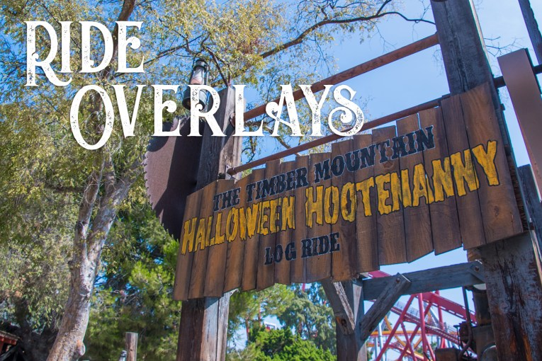 Ride Overlays - The sign for the Timber Mountain Halloween Hootenanny Log Ride. Wood sign with circular saw blades on either side.