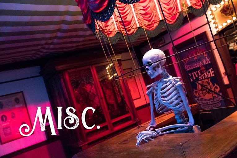 A skeleton stands in the ticket booth inside the Birdcage Theater.