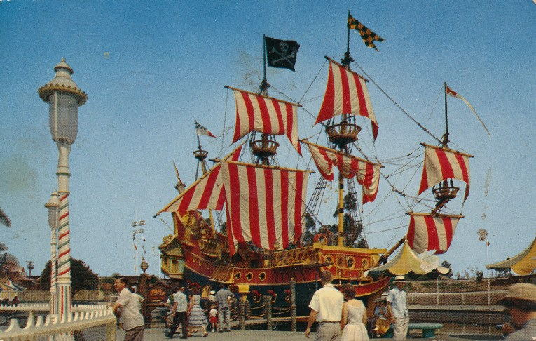 The Chicken of the Sea Shop, a brightly colored pirate ship with red and yellow strip sails.