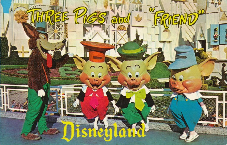 "The Three Little Pigs and the Big Bad Wolf stand in front of it's a small world, text reads ""Three Pigs and 'Friend' Disneyland"""