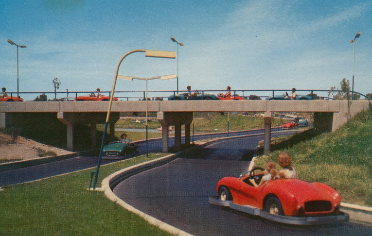 "Autopia, Guests drive small cars along the ""freeways of the future"""