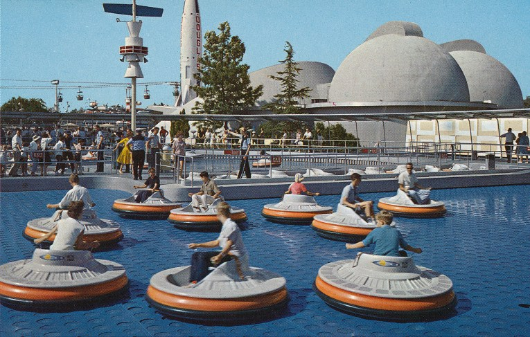 "Guests ""fly"" around on circular Flying Saucers, which operate similar to hover crafts."