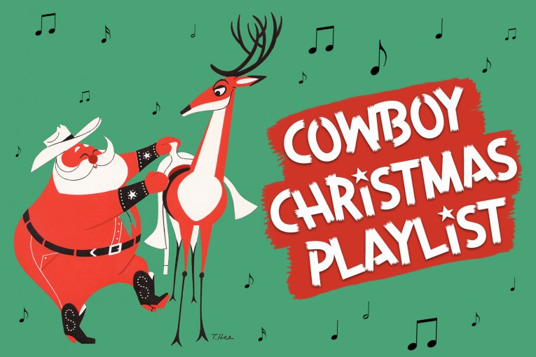 """Santa, dressed in a cowboy hat, boots with a studded """"S"""" on the, saddles up a reindeer. In large white text reads """"Cowboy Christmas Playlist"""""""