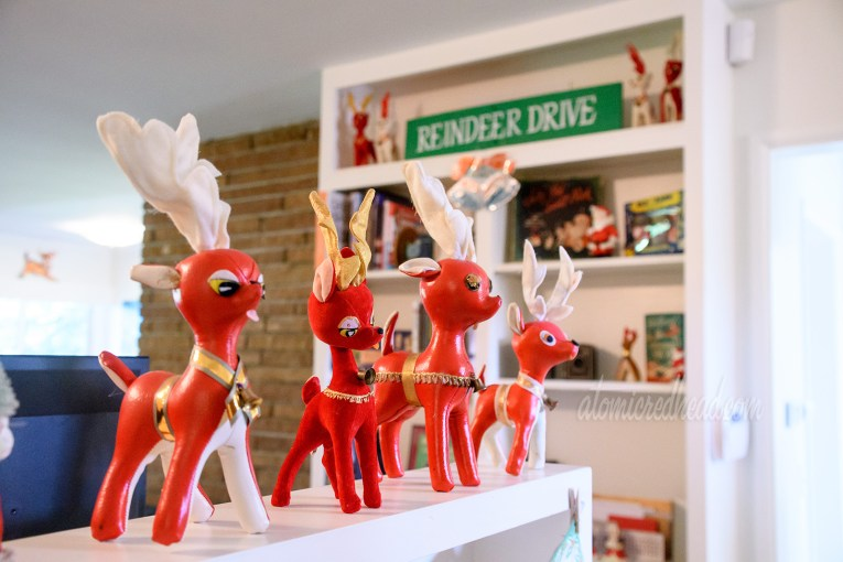 """Small stuff reindeer in red line a shelf, in the background on another shelf reads """"Reindeer Drive"""""""