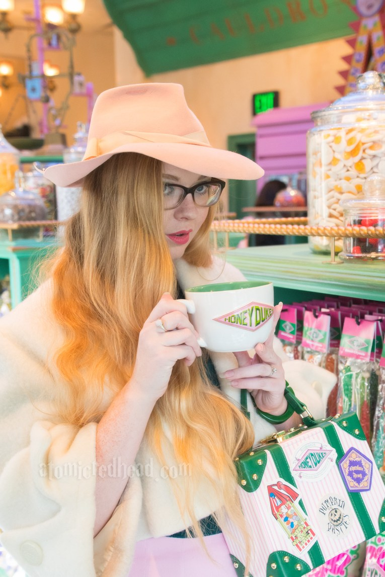 Myself holding a Honeydukes mug.