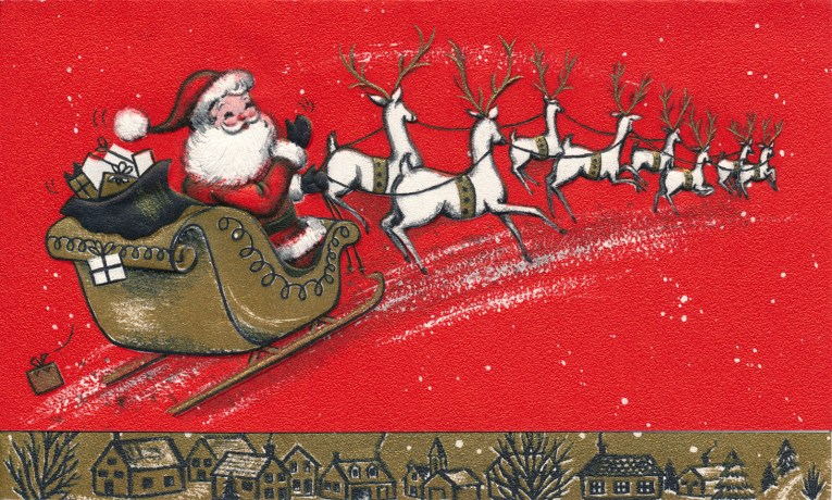 Santa rides across a red card, pulled by his reindeer, a small town edges the bottom.
