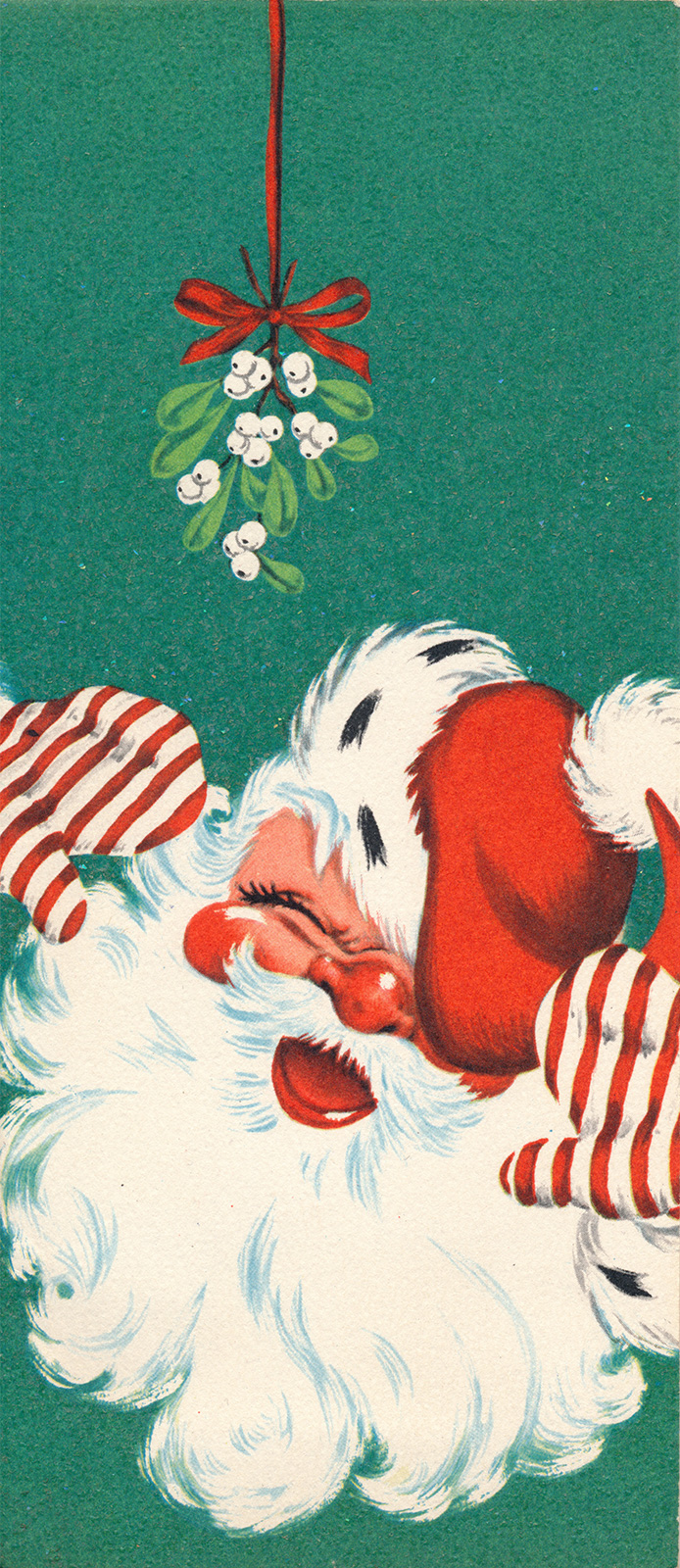 A jolly illustration of Santa is under a hanging mistletoe.