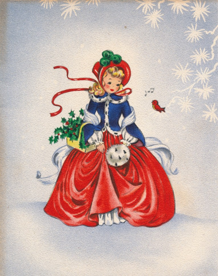A blonde girl stands in the middle of a white card edged in slate blue. She is wearing a red bonnet, a blue coat edged in white fur, and a large red skirt. She also holds a white fur muff.