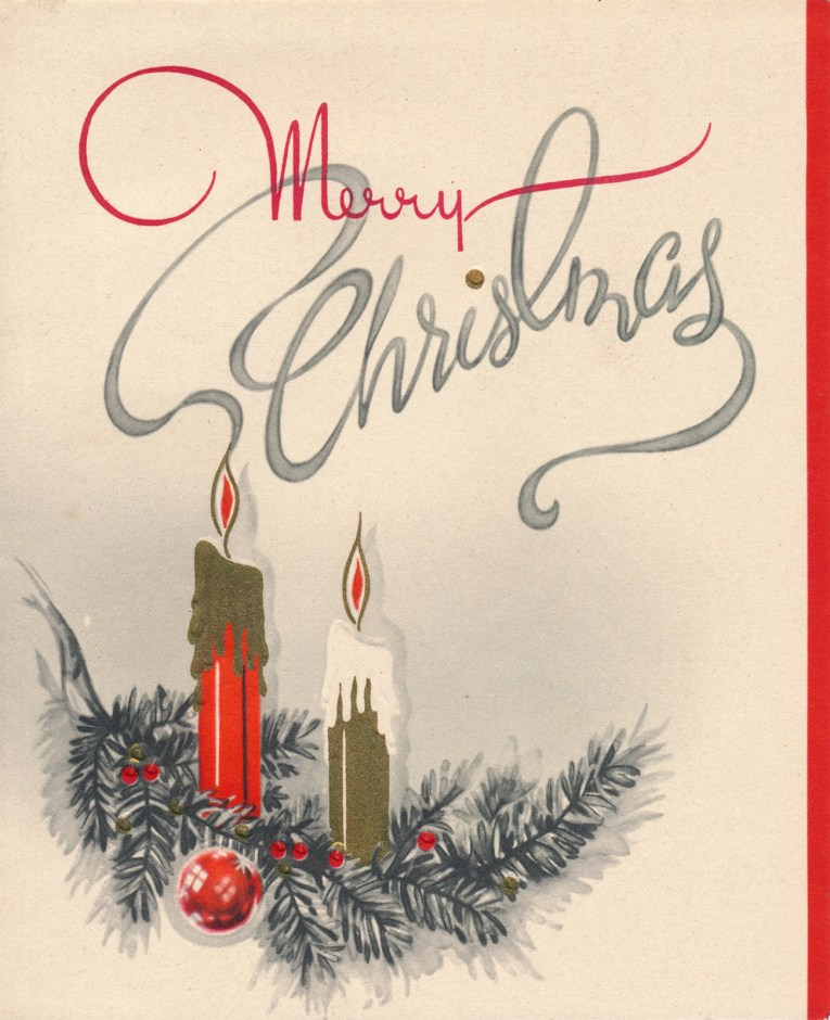 "A pair of candles sit, one red, one gold, above it reads ""Merry Christmas"" the ""Christmas"" portion is spelled out with the smoke from the red candle."