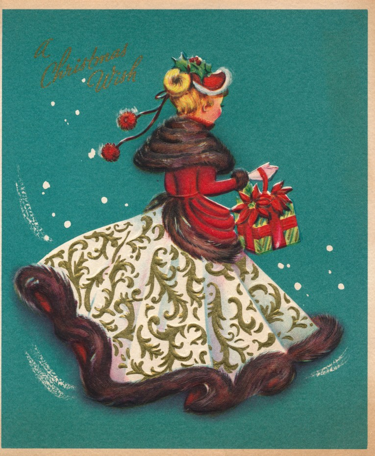 """A turquoise background, in the middle a woman dressed in a white dress skirt, red top, and brown fur. She carries presents. Above it reads """"A Christmas Wish"""""""