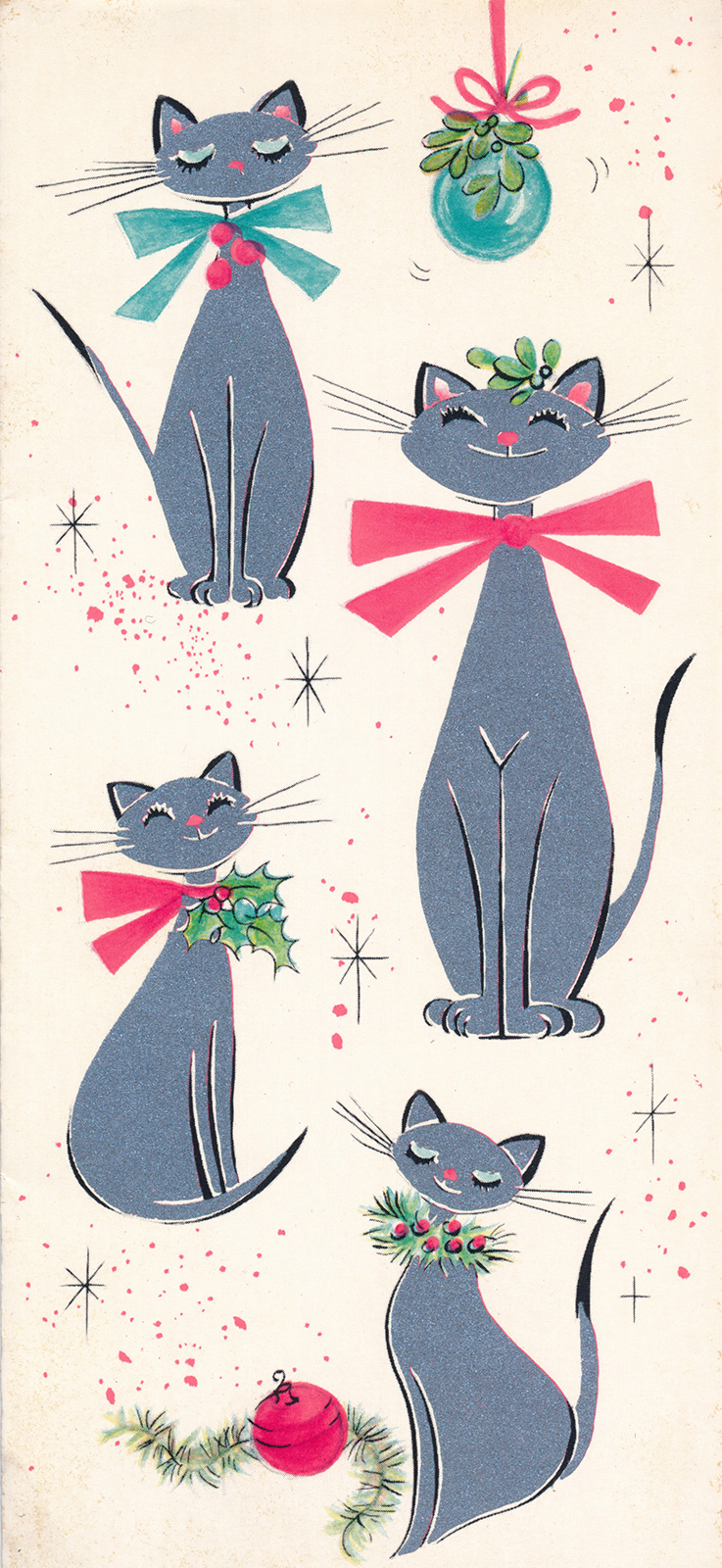 Four silver cats sit on a white card. Two feature pink bow ties, one has a blue bow tie, and another has a sprig of holly.