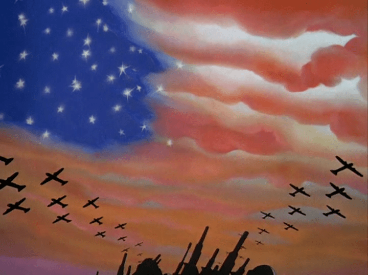 Guns and tanks sit on the bottom of the image, with planes flying overhead with the sky in a sunset with the stars peaking out, giving the illusion of the American flag.