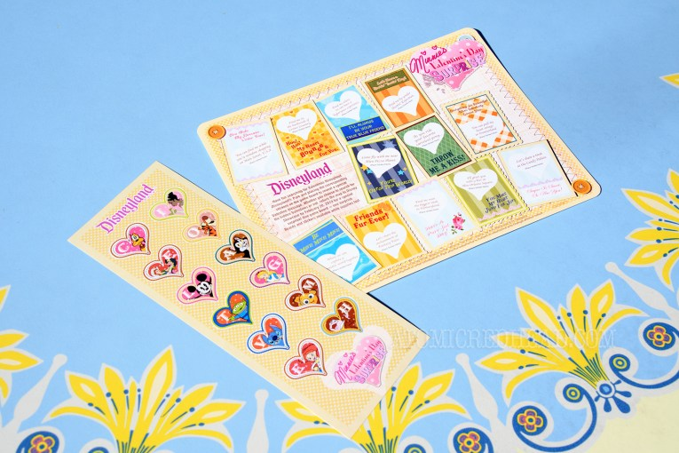 The scavenger hunt! A sheet featuring valentines with heart shaped clues. A sticker sheet includes heart shaped tickets and various characters and letters.