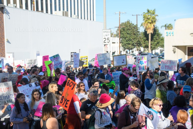 The crowd of marchers moves through downtown Santa Ana.