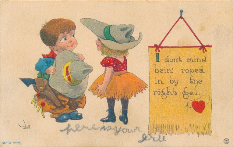 "A cowboy holds his hat as he looks at a cowgirl, text reads ""I don't mind bein' roped by the right gal"""