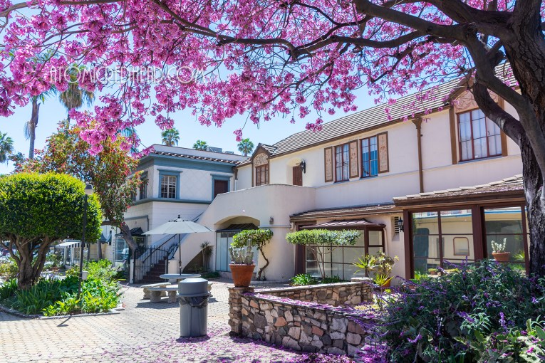 French style meets Spanish Revival in the central courtyard.
