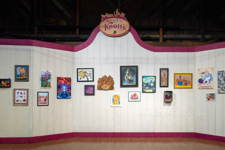 """The art show, titled """"Tied Up In Knott's"""" features images of various Knott's Berry Farm icons and attractions."""