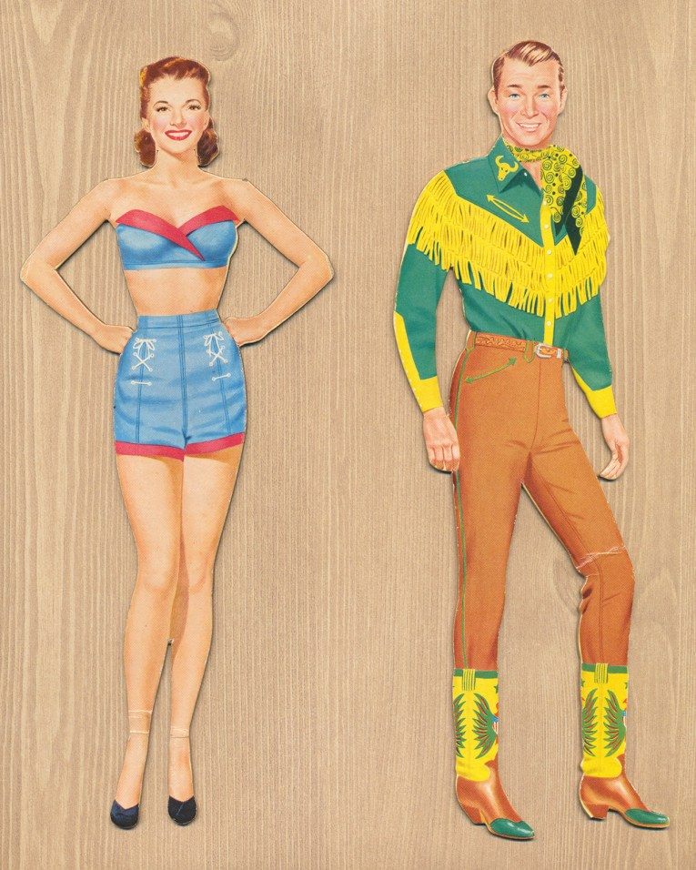 The dolls themselves. Dale in a red and blue bikini, Roy in a green and yellow fringed western shirt, and tan pants.