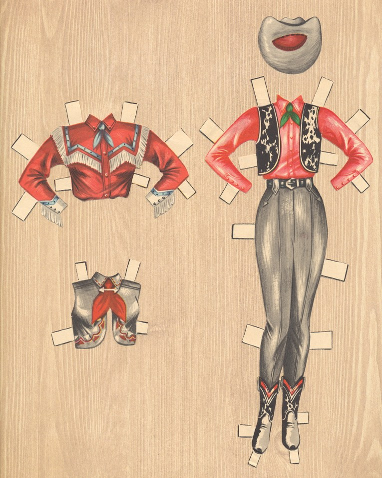 An ensemble for Dale Evans: A red shirt is worn under a cowhide vest, with grey slacks. Other options include a res shirt with white fringe, and a grey vest with red kerchief. A grey hat tops off the outfit.
