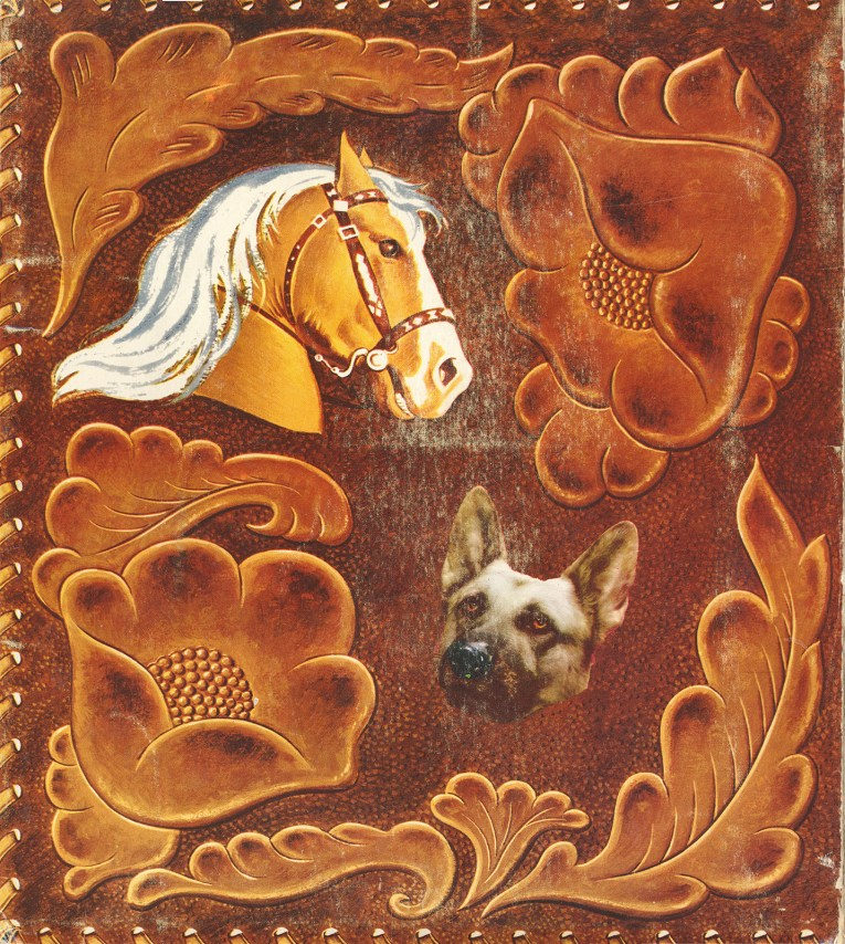 Back of the folder, which also is illustrated to be like tooled leather, but features color illustrations of Roy Rogers' horse Trigger, and their dog, Bullet.