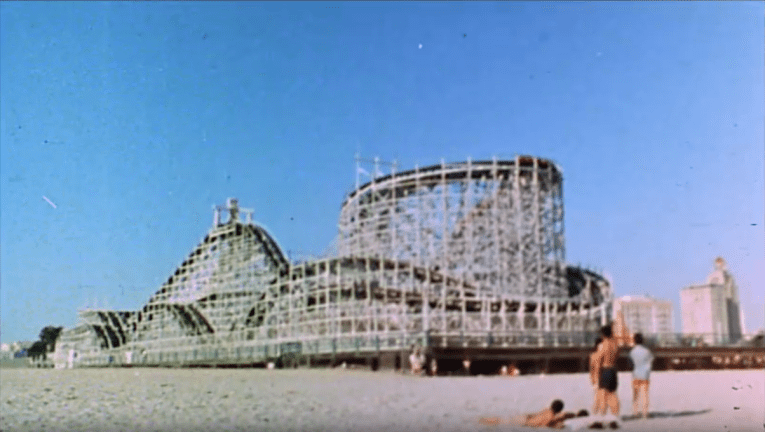 Screencap: The Cyclone Racer as seen from the beach.
