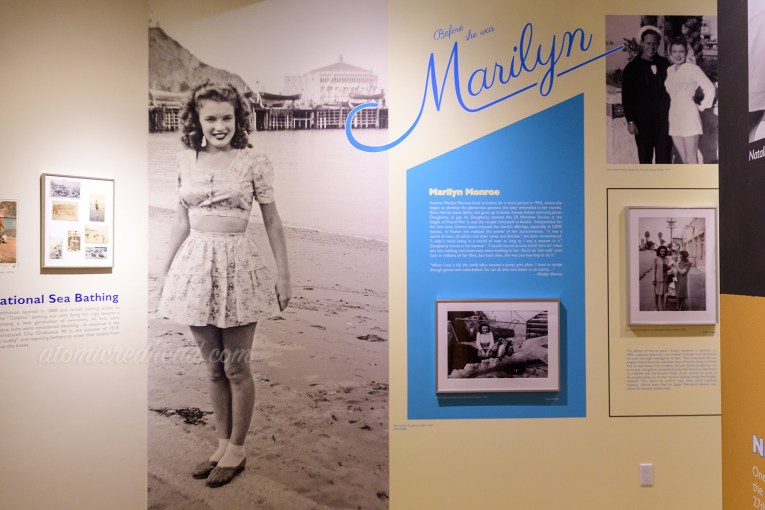 Wall dedicated to Marilyn Monroe's time on the island. Black and white images of her in a swimsuit.
