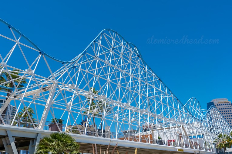 The swooping curves of the Cyclone Racer Bridge.