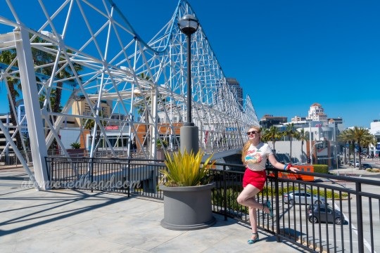Myself standing with the Cyclone Racer Bridge in the background, wearing a t-shirt with a female sunbather and the Cyclone Racer in the background, and red shorts.