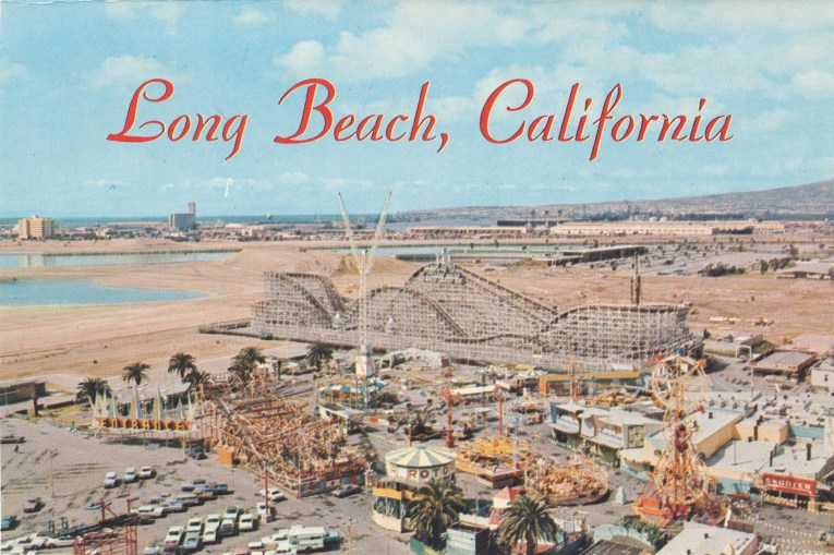 "Postcard of the Pike with the Cyclone Racer stretching toward the ocean and a variety of other rides scattered below. Red text reads ""Long Beach, California"" along the top."