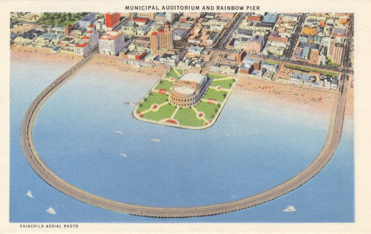 Postcard of an arial shot of the Rainbow Pier.