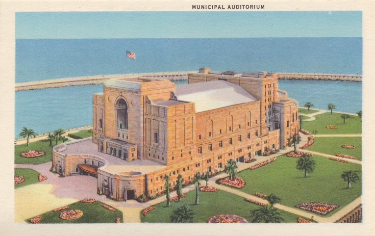 The municipal auditorium in the middle of the Rainbow Lagoon.