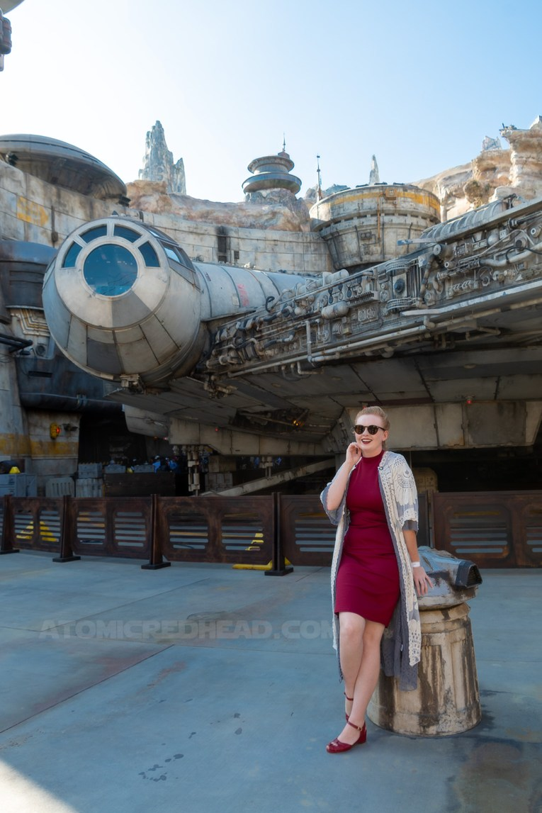 Myself standing in front of the Millennium Falcon, wearing a grey, lace duster, over a dark read dress, my hair in braids and pinned in the back.